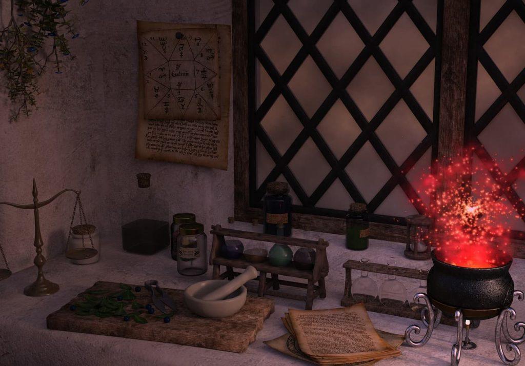 El altar para magia blanca